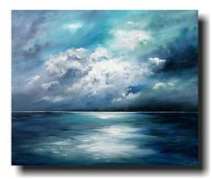 """Sea Night"" acrylic on canvas by Antje Hettner - ideal for things - art . - ""Sea Night"" acrylic on canvas by Antje Hettner – ideal for things – art - Abstract Canvas Art, Acrylic Painting Canvas, Painting Art, Simple Paintings On Canvas, Painting Clouds, Canvas Painting Tutorials, Image Painting, Canvas Canvas, Knife Painting"