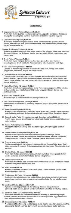 Platter Menu Food Platters, Catering, Appetizers, Menu, Thanksgiving, Easter, Christmas, Wedding, Menu Board Design