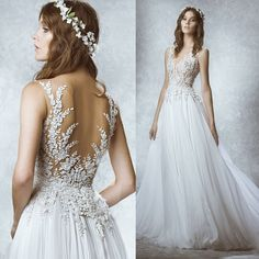 Romantic lace long dress, tulle dress, stylish wedding dress, beach wedding dress