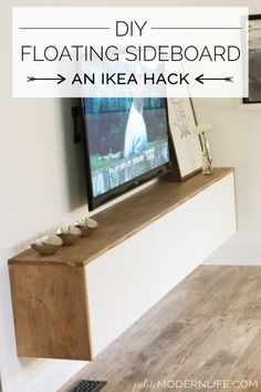 These IKEA furniture hacks will make your house look expensive. Don't buy expenisve furniture, DIY your own with these IKEA hacks. Floating Cabinets, Floating Shelves Diy, Floating Tv Stand Ikea, Tv Stand Ikea Hack, Floating Media Console, Floating Tv Unit, Diy Tv Stand, Ikea Furniture Hacks, Furniture Making