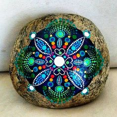 This was the finished product after I applied the UV protected varnish. #P4MirandaPitrone #etsy #art #handpainted #beach #stones #style #colorful #rockpainting #painting #handmade #mandala #love #joy #beauty #boho