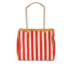MAGID Stripe Chain Tote ($40) ❤ liked on Polyvore featuring bags, handbags, tote bags, handbags & wallets, red, canvas tote, red purse, canvas tote bag, red handbags and red canvas tote