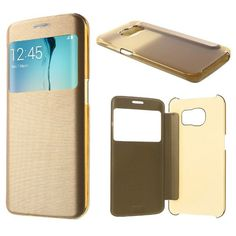 Fuse™ Brushed Aluminium Effect Folio View Flip Case for Samsung Galaxy S6 Edge - Gold