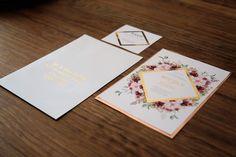 Burgundy rose gold foiled invitation