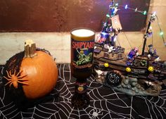 Get in the Halloween spirit and burn this unique candle! Pumpkin pie spice is a great scent! Shipyard Pumpkin Head Beer Bottle Candle Perfect for halloween!! $12.00 #halloween #candles #diy #pumpkin