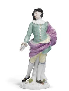 "A Meissen figure of ""Mezzetin"" from the Weissenfels series,by Peter Reinicke and J. J. Kändler, circa 1744."