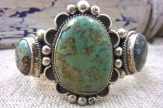 Collectable MUSEUM QUALITY Vintage Navajo Sterling Silver & Royston Turquoise Cuff Bracelet by Renowned Navajo Silversmith, Albert Cleveland