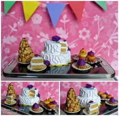 Sweets for My Sweets - I made this for the Philippine polymer clay guild Food for your eyes challenge, September 2014.  Miniature croquembouche, orange vanilla fondant cake,  cupcakes
