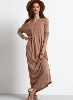 Belt: NO Fabric: Fabric has some stretch Season: Fall Type: Sweater Pattern Type: Plain Sleeve Length: Long Sleeve Color: Apricot Dresses Length: Maxi Style: Casual Material: Polyester Neckline: Round