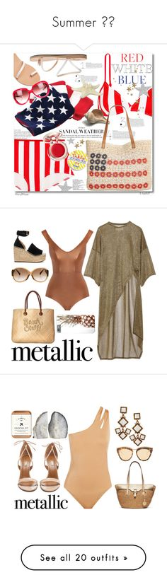"""""""Summer ❤📷"""" by emilizastyles ❤ liked on Polyvore featuring Solid & Striped, Ancient Greek Sandals, Style & Co., Supergoop!, Barton Perreira, fourthofjuly, dresses, white sheer dress, sexy white dresses and beige dress"""