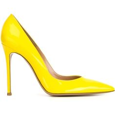 Gianvito Rossi Gianvito Pumps ($597) ❤ liked on Polyvore featuring shoes, pumps, heels, gianvito rossi, pointy-toe pumps, heels stilettos, yellow pointy toe pumps, stiletto pumps and yellow patent pumps