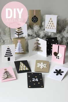 DIY Christmas Cards (folded origami-like tree, bottom left corner) Diy Christmas Cards, Noel Christmas, All Things Christmas, Handmade Christmas, Christmas Decorations, Christmas Greetings, Homemade Cards, Holiday Crafts, Cardmaking