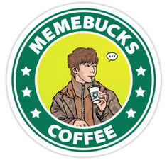 """Hyungwon Memebucks Coffee"" Stickers by cherrywon Tumbler Stickers, Pop Stickers, Meme Stickers, Printable Stickers, K Pop, Monsta X Funny, Chibi, Monsta X Hyungwon, Aesthetic Collage"