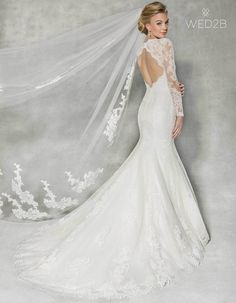 Back view of Alberta Illusion wedding dress