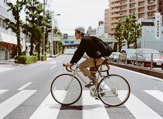 Tokyo bike rider in stripe messenger socks