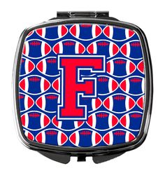 Letter F Football Harvard Crimson and Yale Blue Compact Mirror CJ1076-FSCM