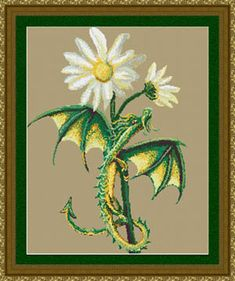 Little Snap Dragon - Cross Stitch Pattern from Kustom Krafts. A tiny little dragon enjoys the sweet smell of the Snapdragons in this Dyan Allaire design. Stitch Count: x Cross Stitch Needles, Cross Stitch Kits, Cross Stitch Patterns, Dragon Cross Stitch, Fantasy Cross Stitch, Dmc Embroidery Floss, Cross Stitch Embroidery, Embroidery Patterns, Dragons