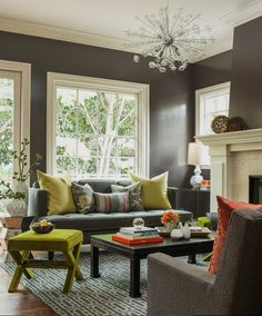 Grey walls and white trim...and interesting color accents