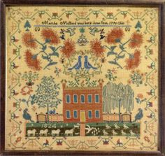 The top lot among more than 60 samplers and silk embroideries, consigned by California collector Mary Jaene Edmonds, was this vivid and hist...