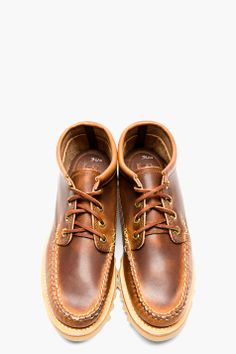 Yuketen Brown Leather Maine Guide Moccasins