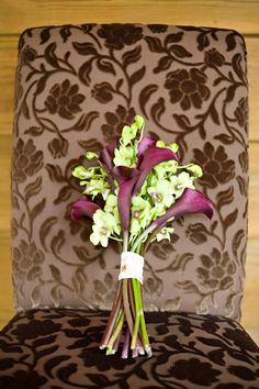 Wedding bouquet with orchids and mini callas from The Flowergirl