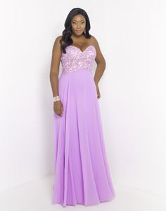BLUSH TOO (PLUS) 9051W ORCHID  Sassy and chic! You'll love this strapless Blush Prom original that features a sweetheart neckline and delicate lace appliques along the bust accented with stones and sequins. A line chiffon skirt flows to the ground and falls into a sweeping train.Back zipper closure. Only in Orchid.