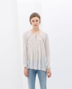 ZARA - NEW THIS WEEK - BLOUSE WITH EMBROIDERED FRONT