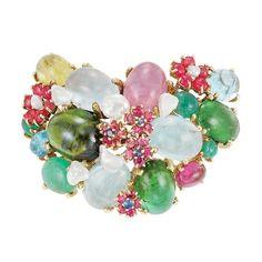 Gold and Multicolored Cabochon Colored Stone and Freshwater Pearl Clip-Brooch, by Seaman Schepps