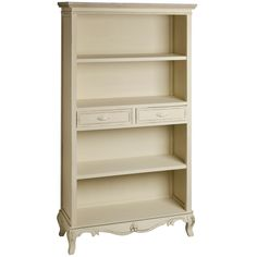 French Country Cream & Wood Large Bookcase With Drawers Furniture, Shabby Chic, Study Room Furniture, French Bookcase, Country Furniture, The Range Furniture, Shabby Chic Furniture, Shabby Chic Bookcase, French Country Bookcase