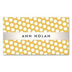 Cute Modern Yellow and White Polka Dot Pattern Business Card Templates