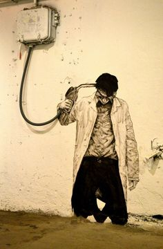Street art by Levalet in Stavanger, Norway