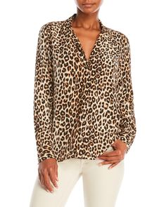Equipment Silk Cheetah Print Dress Shirt