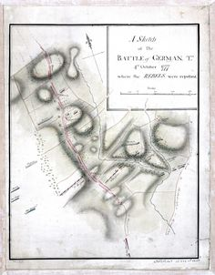 Map of the Battle of Germantown. This battle was fought on October 4, 1777, at Germantown, Pennsylvania between the British army led by Sir William Howe and the American army under George Washington.     The British victory in this battle ensured that Philadelphia, the capital of the self-proclaimed United States of America, would remain in British hands throughout the winter of 1777–1778.