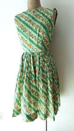 Ending Today! Teena Paige Dress Size Small Rockabilly Pinup Vintage 50s Floral Sundress Cotton #TeenaPaige