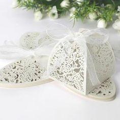 25x Boîte à dragées Bonbonnière Ballotin Blanc Cage avec ruban pour mariage baptême