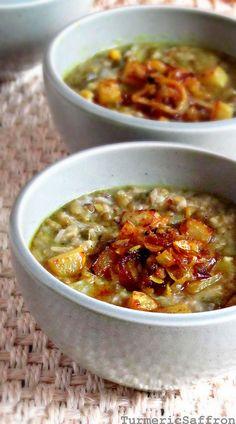 Turmeric & Saffron: Sholeh Maash - Persian Green Mung Bean and Kohlrabi Hearty Soup