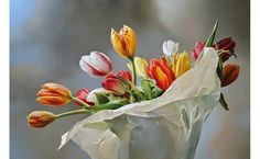 """Stunning mega realistic oil paintings from Dutch painter Tjalf Sparnaay at http://www.tjalfsparnaay.nl/ """"Dutch Tulips"""", 2015, 120cm x 180cm, oil on linen."""