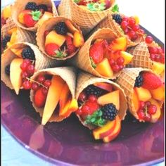 Snack for tea ceremony - fruit salad in waffle cone!