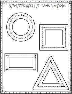 geometrik şekiller çizme Body Preschool, Preschool Writing, Numbers Preschool, Learning Numbers, Kindergarten Worksheets, Worksheets For Kids, Kids Learning Activities, Teaching Kids, Geometry Activities