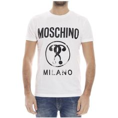 Moschino Short Sleeve T-Shirts ($115) ❤ liked on Polyvore featuring men's fashion, men's clothing, men's shirts, men's t-shirts, white, mens crew neck t shirts, mens white shirt, mens white short sleeve shirt, mens short sleeve t shirts and mens short sleeve shirts