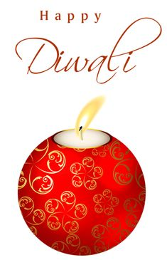 Beautiful Red Happy Diwali Candle PNG Clipart Image