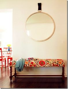 I love the colorful design on the bench and the red chairs in the background--Chet Pourciau Design: Bohemian Modern Style Cool Mirrors, Round Mirrors, Mirror Mirror, Mirror Inspiration, Interior Inspiration, Interior Ideas, Style Inspiration, Old Benches, Bohemian Decor