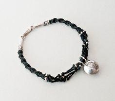 Black Friendship Charm Bracelet Sterling Silver by PiscesAndFishes Thread Bracelets, Beach Bracelets, Dainty Bracelets, Seed Bead Bracelets, Sterling Silver Bracelets, Greek Jewelry, Black Thread, Hand Weaving, Friendship