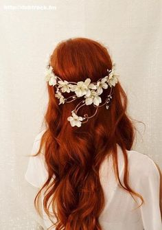 Beautiful red hair with flower crown