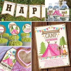 Girls Camping Party Full Printable Set - Camp Out - Glamping - Instant Download and Editable File - Personalize at home with Adobe Reader