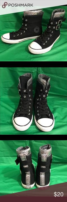 Converse Chuck Taylor All Star Sneakers Sz 6 Designer Brand: CONVERSE ALL STAR CHUCK TAYLOR Has 2 which wraps around the ankle Color: BLACK WITH SILVER SNAKE PRINT AT THE TOP Size: 6 Condition: excellent preowned    Check out my other listings for more great deals!!! Shoes Sneakers