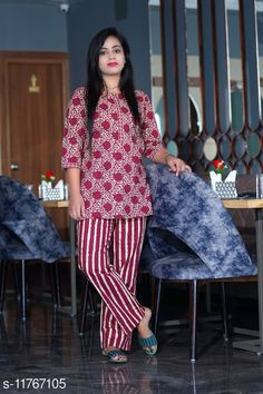 Nightsuits Cotton Women's Nightwear  Top Fabric: Cotton Bottom Fabric: Cotton Top Type: Regular Top Bottom Type: Pyjamas Sleeve Length: Three-Quarter Sleeves Pattern: Printed Multipack: 1 Sizes: XL (Top Bust Size: 38 in, Top Length Size: 30 in, Bottom Waist Size: 30 in, Bottom Hip Size: 44 in, Bottom Length Size: 39 in)  L (Top Bust Size: 38 in, Top Length Size: 30 in, Bottom Waist Size: 30 in, Bottom Hip Size: 42 in, Bottom Length Size: 39 in)  M (Top Bust Size: 38 in, Top Length Size: 30 in, Bottom Waist Size: 30 in, Bottom Hip Size: 40 in, Bottom Length Size: 39 in)  XXL (Top Bust Size: 38 in, Top Length Size: 30 in, Bottom Waist Size: 30 in, Bottom Hip Size: 46 in, Bottom Length Size: 39 in)  Country of Origin: India Sizes Available: M, L, XL, XXL   Catalog Rating: ★4.4 (468)  Catalog Name: Inaaya Stylish Women Nightsuits CatalogID_2228185 C76-SC1045 Code: 494-11767105-