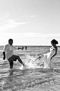 #Trash the dress Beach photo ideas #beach photo ideas #spontaneous fun wedding photos