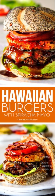 Amazingly juicy Hawaiian Burgers BURSTING with flavor, smothered in Havarti cheese, more Hawaiian Sauce and topped with caramelized pineapple. This might be the best burger. EVER!