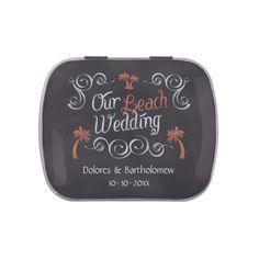 Coral Chalkboard Script Beach Wedding Jelly Belly Tins